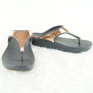 Crocs | Black & Gold Sandals | Size 7